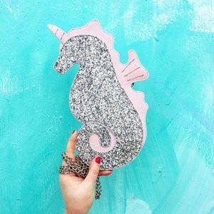 Glitter Unicorn Seahorse Crossbody Bag